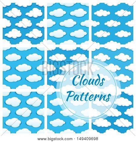 Clouds seamless pattern. Vector pattern of cumulus white cloud on blue background