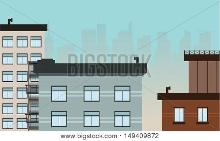 Many building landscape vector art illustration of silhouette