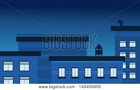 At night building landscape vector illustration collection