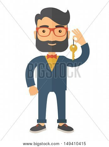 A Businessman standing while holding a Golden key. A Contemporary style.  flat design illustration isolated white background. Vertical layout