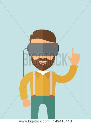 A man with isometric virtual reality headset.  flat design illustration. Vertical layout with text space on top part.