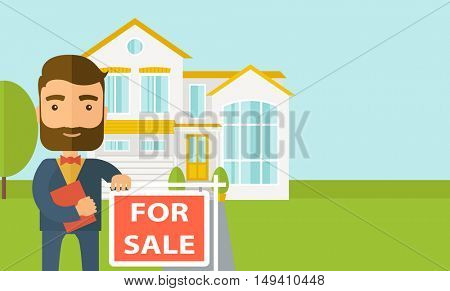 A real estate agent holding the document for the for sale house.  flat design illustration. Horizontal layout with text space in right side.