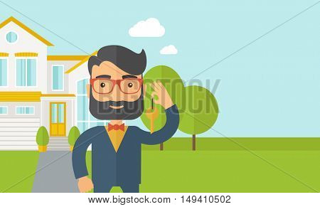 A caucasian standing and holding a key infront of the house.  flat design illustration. Horizontal layout with text space in right side.