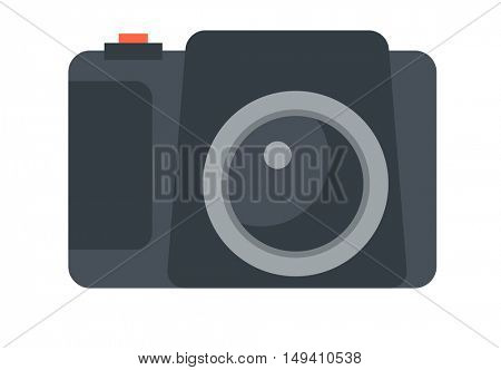 Modern camera. A Contemporary style.  flat design illustration isolated white background. Horizontal layout
