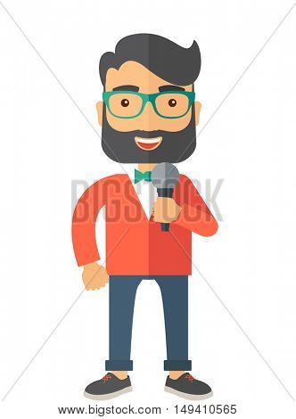 A broadcaster with microphone. A Contemporary style.  flat design illustration isolated white background. Vertical layout