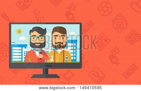A dialog with two caucasian newscaster in a televesion.  flat design illustration. Horizontal layout with text sapce in right side.