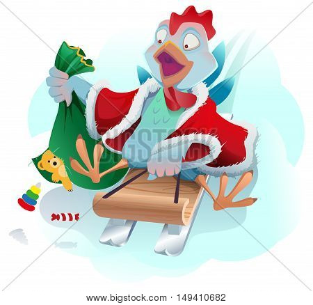 Christmas cock rolls on sledge from mountain. Blue cartoon Rooster symbol 2017. Vector illustration
