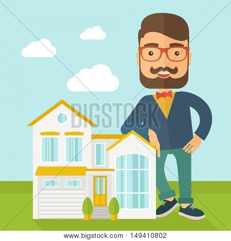 A real estate agent poses for use in advertising to sell the house. A Contemporary style with pastel palette, soft blue tinted background with desaturated clouds.  flat design illustration. Square