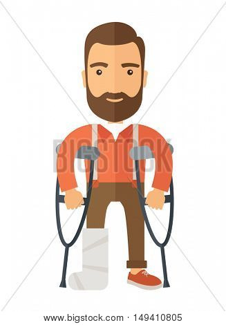 A Man with crutches and broken bone. A Contemporary style.  flat design illustration isolated white background. Vertical layout