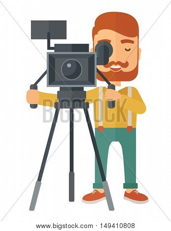 A caucasian videographer taking a video. A Contemporary style.  flat design illustration isolated white background. Vertical layout