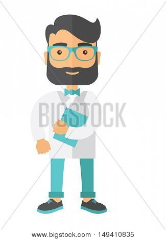 A Young attractive resident doctor in eyeglasses holding a blue book. A Contemporary style.  flat design illustration isolated white background. Vertical layout.