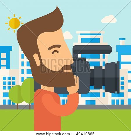 A hipster cameraman with video camera taking a video with thye buildings around. A Contemporary style with pastel palette, soft blue tinted background with desaturated clouds.  flat design