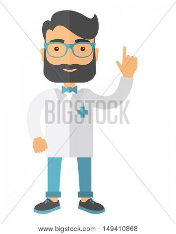 A happy caucasian doctor dressed in a white lab coat. A Contemporary style.  flat design illustration isolated white background. Vertical layout.