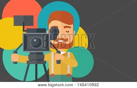 A caucasian videographer taking a video. A contemporary style with pastel palette black tinted and colorful round background.  flat design illustration. Horizontal layout with text space in right side