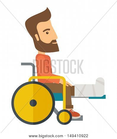 A Man in a wheelchair with broken bone. A Contemporary style.  flat design illustration isolated white background. Vertical layout.