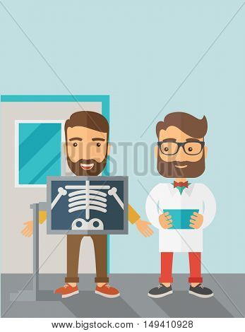 A view of man is holding a X-ray picture.  Contemporary style with pastel palette, soft blue tinted background.  flat design illustrations. Vertical layout with text space on top part.