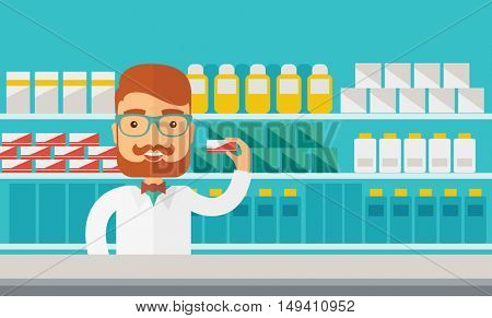 A Young  pharmacy chemist man standing in drugstore. Contemporary style with pastel palette, blue tinted background.  flat design illustrations. Horizontal layout.