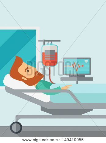 A caucasian patient in hospital bed in having a blood transfussion being monitored. Contemporary style with pastel palette, soft blue tinted background.  flat design illustrations. Vertical layout