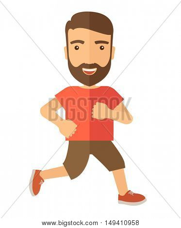 A confident hipster athlete getting ready fo a running race. . A Contemporary style.  flat design illustration isolated white background. Vertical layout.