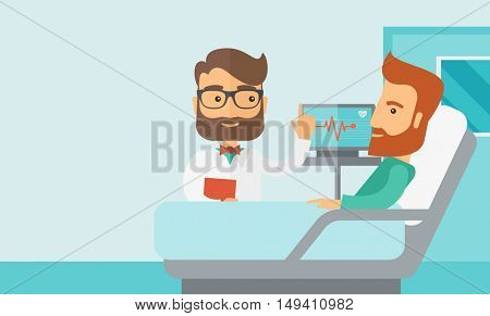A medical caucasian patient being treated by an expert doctor in a hospital room. Contemporary style with pastel palette, soft blue tinted background.  flat design illustrations. Horizontal layout
