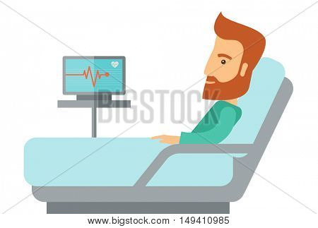 Patient lying in bed in the hospital. A Contemporary style.  flat design illustration isolated white background. Horizontal layout