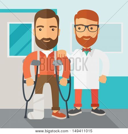 An injured man in crutches assisted by a doctor. Safety concept. Contemporary style with pastel palette, soft blue tinted background.  flat design illustrations. Square layout.