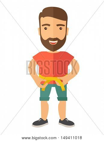 A caucasian is practicing karate exercise without a karate costume. A Contemporary style.  flat design illustration isolated white background. Vertical layout.