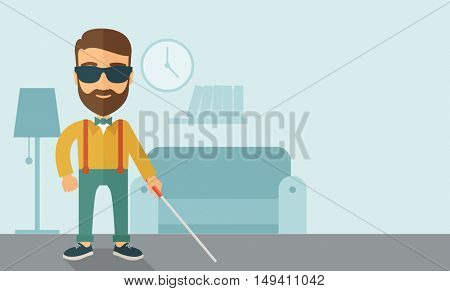 A blind caucasian with walking stick inside the house. Contemporary style with pastel palette, soft blue tinted background.  flat design illustrations. Horizontal layout with text space in right side.