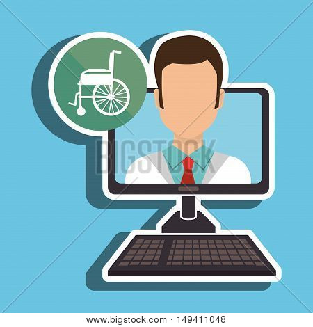 nurse computer service health vector illustration eps 10