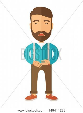A sick man standing while holding his stomach has a abdominal pain. A Contemporary style.  flat design illustration isolated white background. Vertical layout.