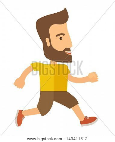 A caucasian do a jogging exercise. Healthy concept. A Contemporary style.  flat design illustration isolated white background. Vertical layout.