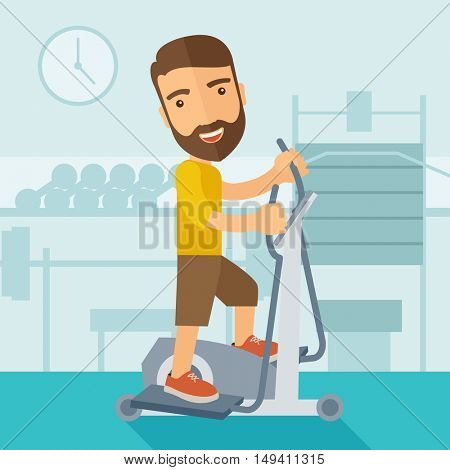 A happy caucasian in gym sport workout exercises. Contemporary style with pastel palette, soft blue tinted background.  flat design illustrations. Square layout.