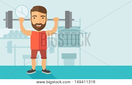 A handsome caucasian man lifting a barbell with fitness attire inside the gym. Contemporary style with pastel palette, soft blue tinted background.  flat design illustrations. Horizontal layout.