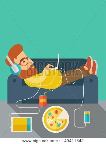 A Young caucasian man with headphone lie on the sofa listening music with pizza. Contemporary style with pastel palette, soft green tinted background.  flat design illustrations. vertical layout with