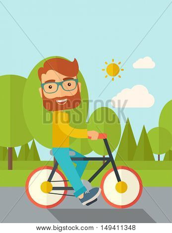 A happy caucasian riding a bicycle under the sun. Contemporary style with pastel palette, soft blue tinted background with desaturated cloud.  flat design illustrations. Vertical layout with text