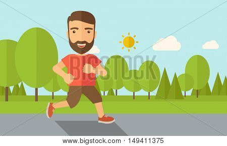 A confident hipster athlete getting ready fo a running race. Contemporary style with pastel palette, soft blue tinted background with desaturated cloud.  flat design illustrations. Horizontal layout.