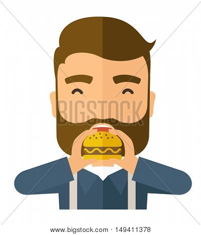A happy Hipster office man eating hamburger as his snack break. Relaxing concept. A Contemporary style.  flat design illustration isolated white background. Square layout.