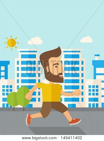 A caucasian do a jogging exercise under the heat of the sun. Healthy concept. Contemporary style with pastel palette, soft blue tinted background with desaturated cloud.  flat design illustrations