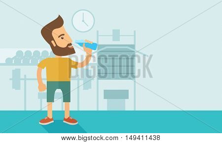 A hipster gentleman drink a bottle of energy drink before he start to exercise inside the gym. Healthy, fitness concept. A contemporary style with pastel palette soft blue tinted background.  flat