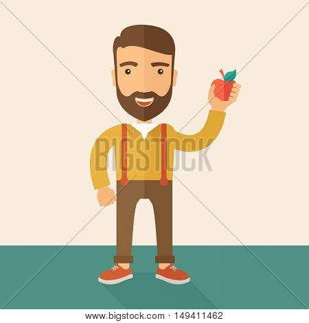 A happy caucasian businessman standing raising his arm while holding a red apple.  The concept of success and good idea. A Contemporary style with pastel palette, soft beige tinted background.  flat