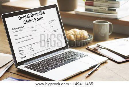 Dental Benefits Claim Form Document Concept