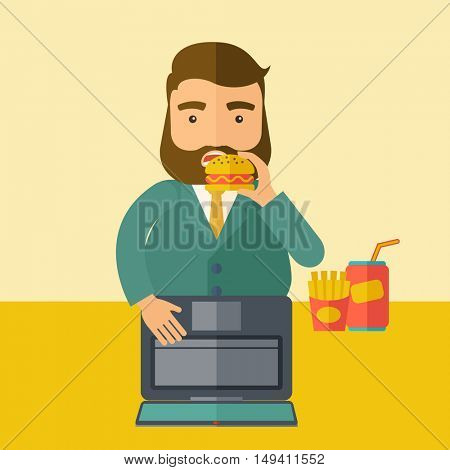 A young fat guy eating burger, fries, and soda for drink while working on his laptop. Business concept. A Contemporary style with pastel palette, soft beige tinted background.  flat design