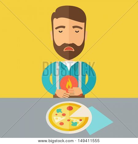 A sick man has a stomach burn or Abdominal pain after he ate a slice of pizza. A Contemporary style with pastel palette, a yellow tinted background.  flat design illustration. Square layout.