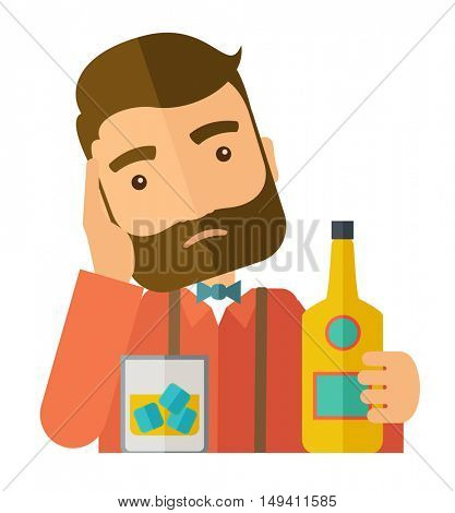 A caucasian sad man is having a problem drinking beer in the bar. Depressed concept .A Contemporary style.  flat design illustration isolated white background. Square layout.