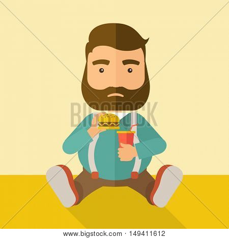 A fat man sitting on the floor while eating hamburger and soda for his drink. Food concept. A Contemporary style with pastel palette, soft beige tinted background.  flat design illustration. Square