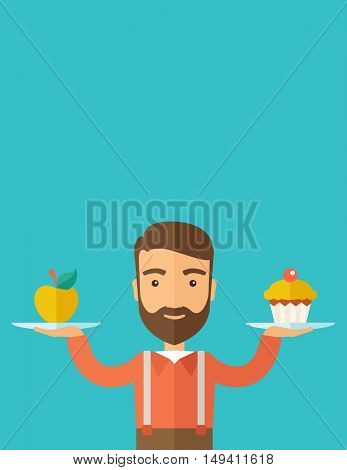 A caucasian hipster young man carries with his two hands cupcake and apple as his balance diet. A contemporary style with pastel palette dark blue tinted background.  flat design illustration