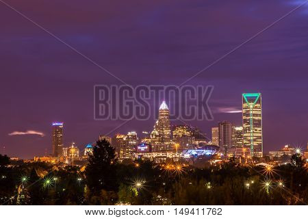 The dramatic colors of the sky surrounding the photogenic city of Charlotte, North Carolina