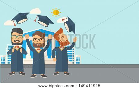 A smiling three men throwing graduation cap in the air. A Contemporary style with pastel palette, soft blue tinted background with desaturated clouds.  flat design illustration. Horizontal layout with