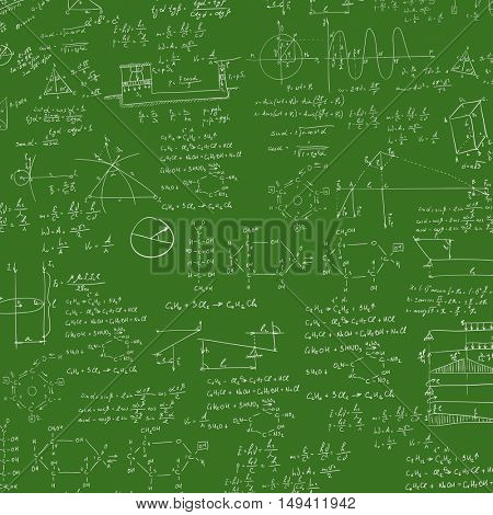 A blackboard with mechanical formula. A Contemporary style.  flat design illustration isolated green background. Square layout