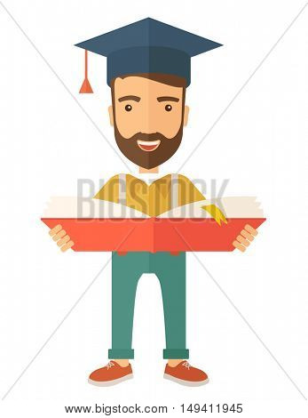 Man sstanding and reading  a book, wearing graduation cap, representing to be graduated in studying or finished school or university. A Contemporary style.  flat design illustration isolated white
